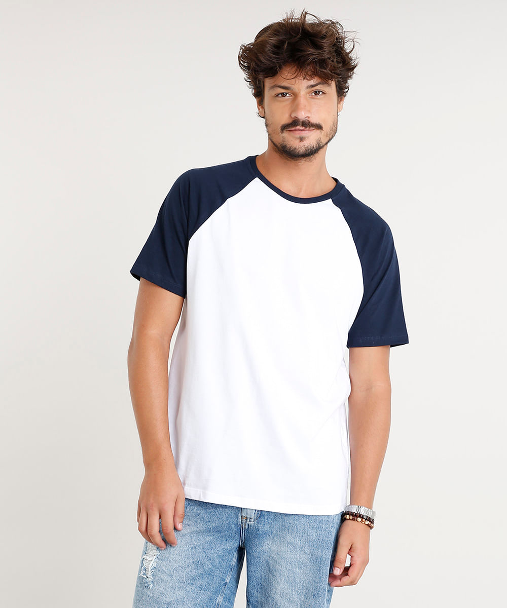 dcab28e72 Camiseta Masculina Básica Raglan Manga Curta Gola Careca Branca - cea