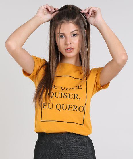 Blusa-Feminina--Se-Voce-Quiser-Eu-Quero--Manga-Curta-Decote-Redondo-Mostarda-9519134-Mostarda_1