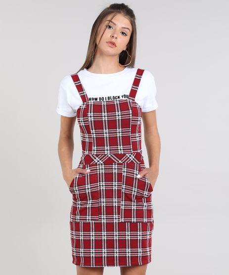 Vestido-Feminino-Curto-Estampado-Xadrez-com-Bolso-Alca-Media-Vermelho-Escuro-9436137-Vermelho_Escuro_1