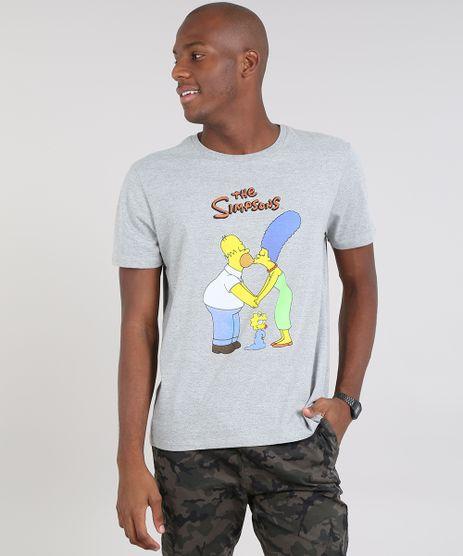 Camiseta-Masculina-Os-Simpsons-Manga-Curta-Gola-Careca-Cinza-Mescla-9607967-Cinza_Mescla_1