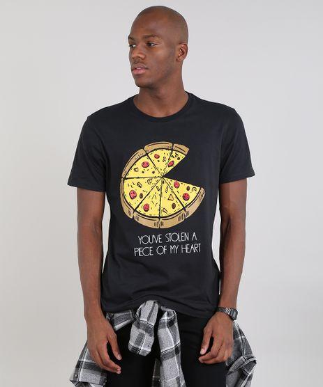 Camiseta-Masculina-com-Estampa-de-Pizza-Manga-Curta-Gola-Careca-Preta-9607965-Preto_1