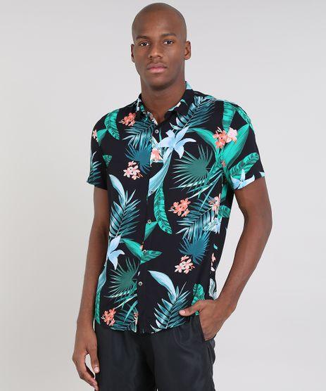 Camisa-Masculina-Estampada-de-Folhagens-Manga-Curta-Preta-9542849-Preto_1