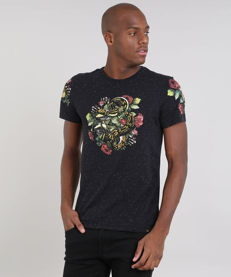 Camiseta-Masculina-Slim-Fit-com-Estampa-de-Cobra-Manga-Curta-Gola-Careca-Preta-9524263-Preto_1