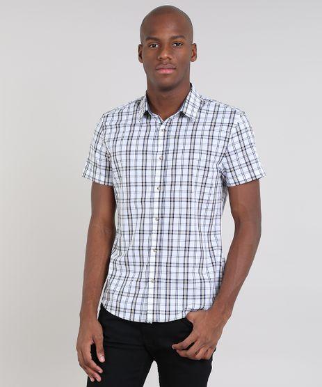 Camisa-Masculina-Slim-Estampada-Xadrez-Manga-Curta-Off-White-9436427-Off_White_1