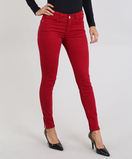 Calca-de-Sarja-Feminina-Super-Skinny-com-Ziper-na-Barra-Vermelha-9493482-Vermelho_1