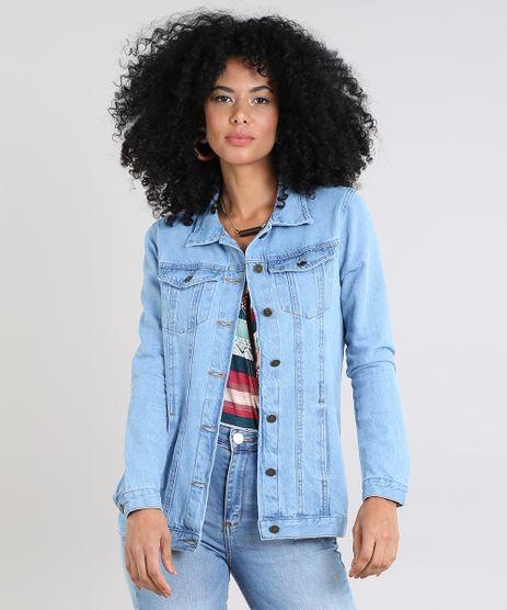 Jaqueta-Jeans-Feminina-Longa-com-Bolsos-Azul-Claro-9592619-Azul_Claro_1
