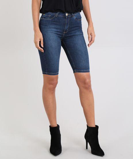 Bermuda-Jeans-Feminina-Ciclista-com-Bolsos-Azul-Escuro-9586472-Azul_Escuro_1