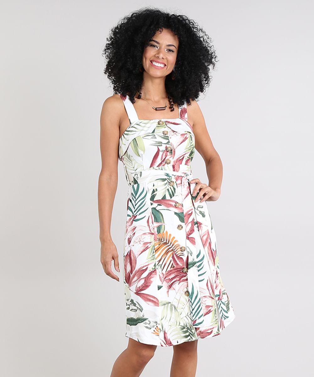 622acadae Vestido Feminino Estampado Floral com Babado Off White - cea