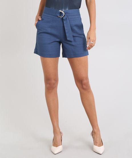 Short-Feminino-Texturizado-com-Fivela-de-Argola-Azul-9446211-Azul_1