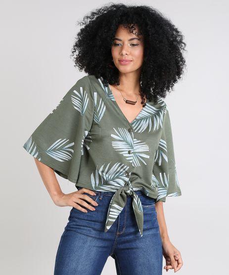 Camisa-Feminina-Cropped-Estampada-de-Folhagem-Manga-Curta-Decote-V-Verde-Militar-9520582-Verde_Militar_1