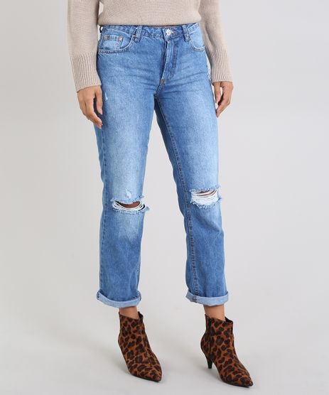 Calca-Jeans-Feminina-Reta-Destroyed-com-Botoes-Azul-Medio-9589550-Azul_Medio_1