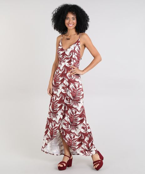Vestido-Feminino-Longo-Transpassado-Estampado-de-Folhagem-Alca-Fina-Bege-Claro-9572445-Bege_Claro_1