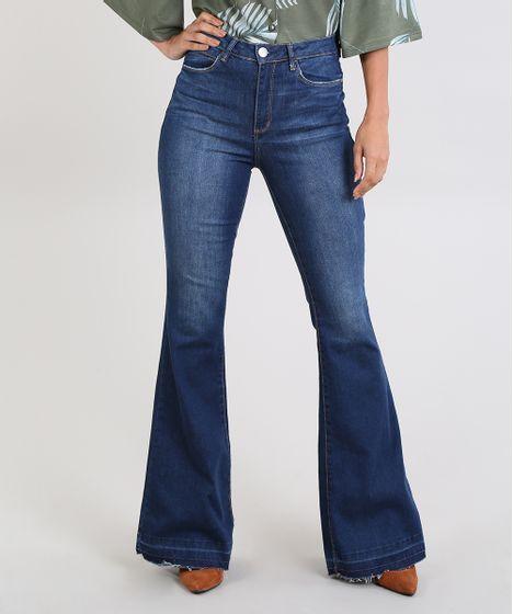 7cd3f0b9ac Calça Jeans Feminina Super Flare Cintura Super Alta Azul Escuro - cea