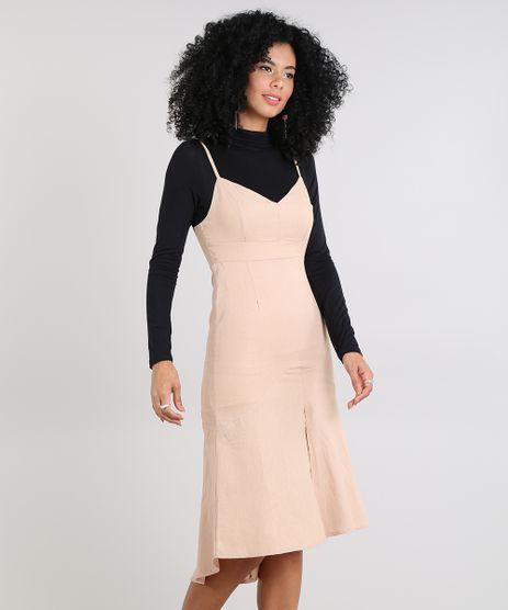 Vestido-Feminino-Midi-com-Linho-e-Fenda-Bege-9588938-Bege_1