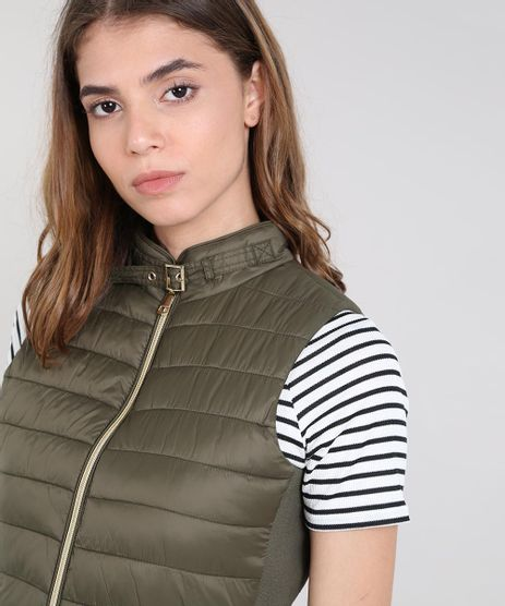 Colete-Feminino-Puffer-com-Fivela-Verde-Militar-9358142-Verde_Militar_1