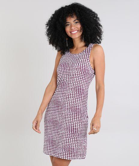 Vestido-Feminino-Estampado-de-Poas-Decote-Redondo-Vinho-9572300-Vinho_1