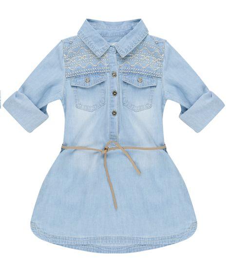 6037b1e8ce Vestido-Jeans-Bordado-com-Cinto-Azul-Claro-8420280- ...