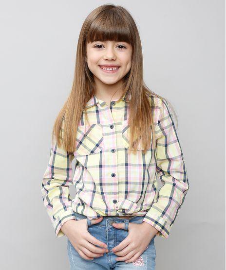 Camisa-Infantil-Xadrez-com-Bolsos-Manga-Longa-Amarelo-Claro-9359851-Amarelo_Claro_1
