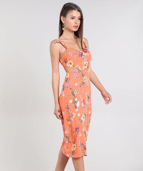 Vestido-Feminino-Midi-Estampado-Floral-com-Vazado-Alca-Media-Coral-9564233-Coral_1
