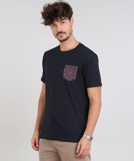 Camiseta-Masculina-com-Bolso-Estampado-Animal-Print-Manga-Curta-Gola-Careca-Preta-9549389-Preto_1