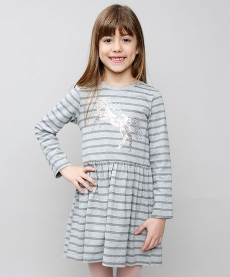 Vestido-Infantil-Listrado--Unicornio--com-Paetes-Manga-Longa-Cinza-Mescla-9537309-Cinza_Mescla_1