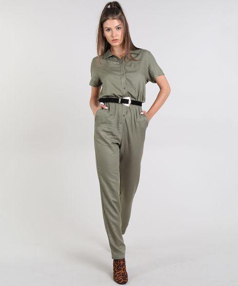 Macacao-Feminino-com-Bolsos-Manga-Curta-Verde-Militar-9605181-Verde_Militar_1