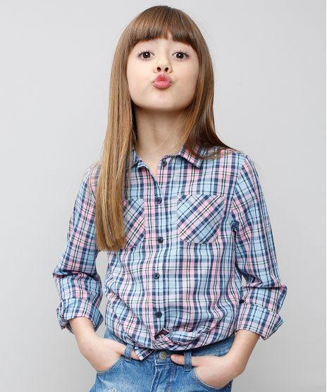 Camisa-Infantil-Xadrez-com-Bolsos-Manga-Longa-Azul-Claro-9359850-Azul_Claro_1