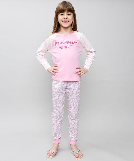 Pijama-Infantil--Meow--Raglan-Manga-Longa-Rosa-9527874-Rosa_1