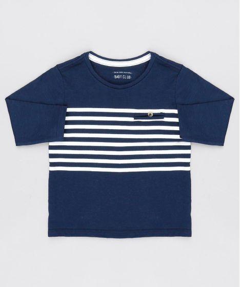 72df1de21 Camiseta Infantil com Listras Manga Longa Gola Redonda Azul Marinho ...