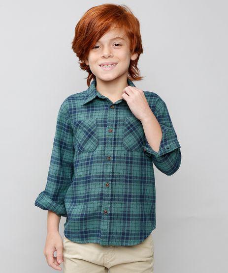 Camisa-Infantil-Estampada-Xadrez-com-Bolso-Manga-Longa-Verde-9382072-Verde_1