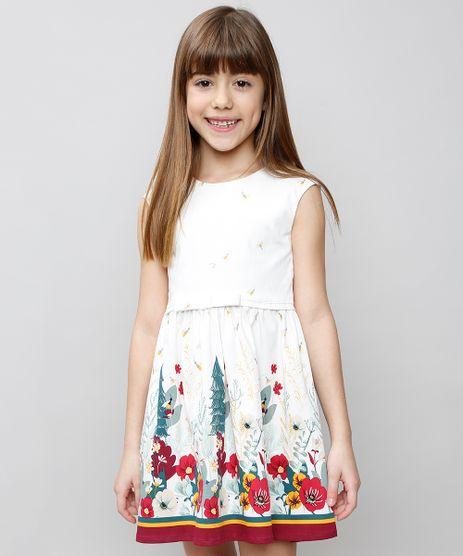6953ebebce Vestido-Infantil-Estampado-Floral-com-Vazado-Sem-Manga-
