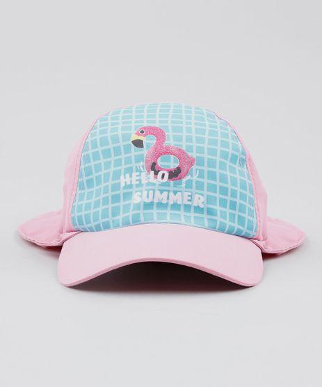 Bone-Infantil-Aba-Curva-Flamingo-com-Protecao-UV-50--Rosa-Claro-9439475-Rosa_Claro_1
