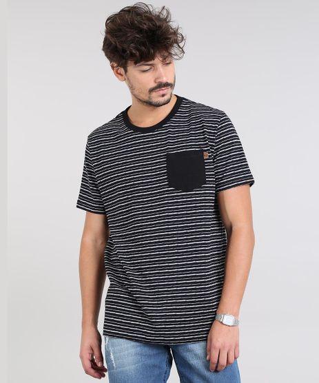 Camiseta-Masculina-Listrada-com-Bolso-Manga-Curta-Gola-Careca-Preta-9542462-Preto_1
