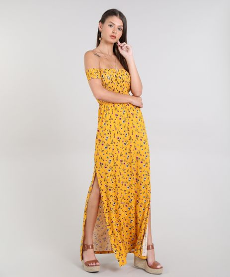 Vestido-Feminino-Longo-Ombro-a-Ombro-Estampado-Floral-Manga-Curta-Mostarda-9568812-Mostarda_1