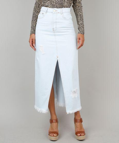 Saia-Jeans-Feminina-Longa-com-Fenda-e-Rasgos-Azul-Claro-9546739-Azul_Claro_1