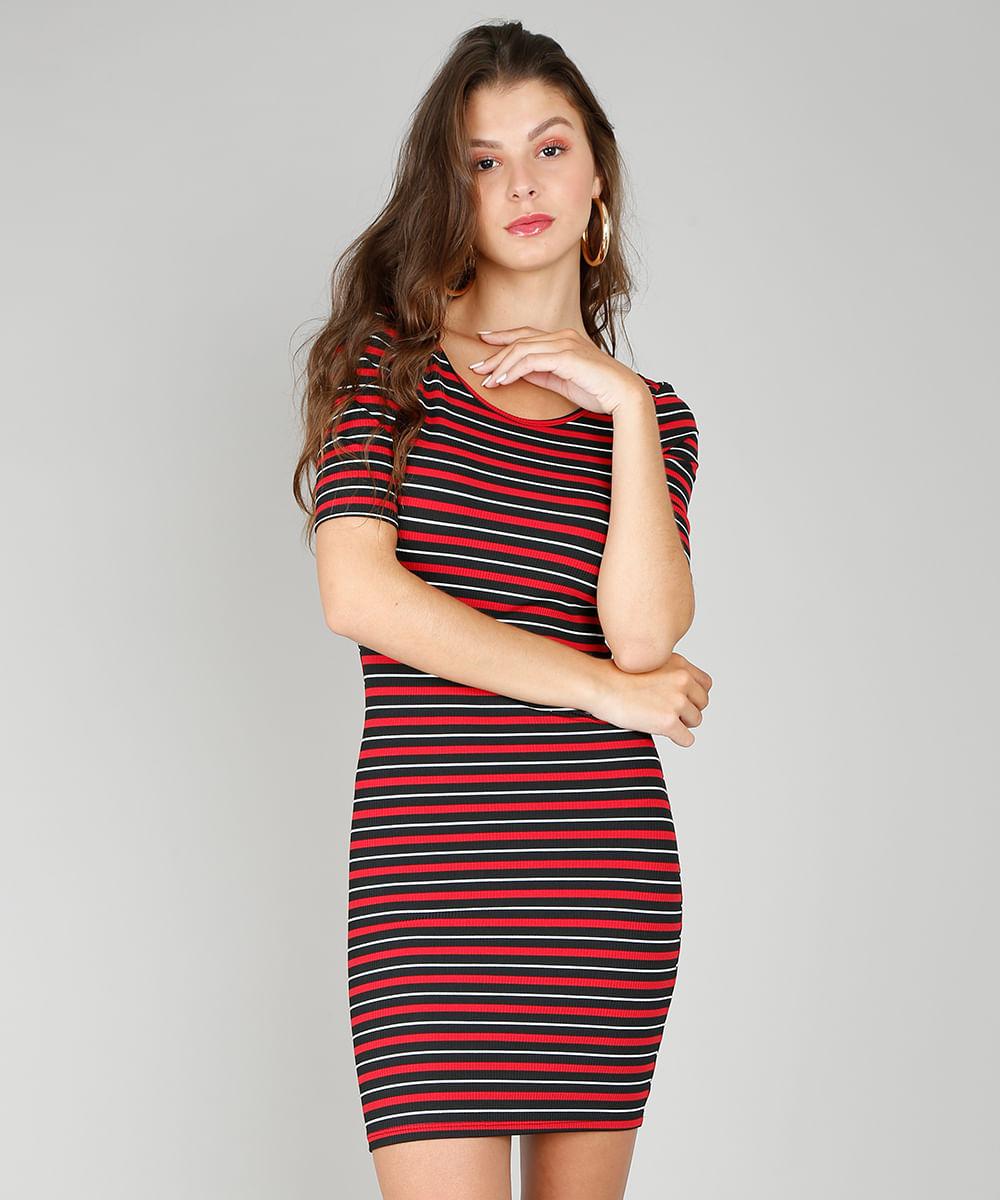 871c83a60c Vestido Feminino Listrado Curto Canelado Vermelho - ceacollections
