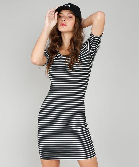 Vestido-Feminino-Listrado-Curto-Canelado-Preto-9297318-Preto_1