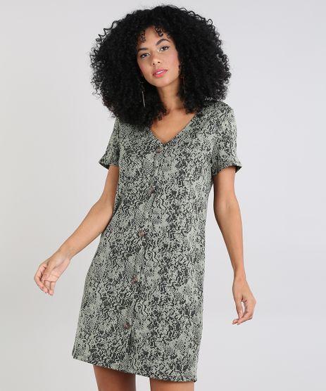 Vestido-Feminino-em-Jacquard-Estampado-com-Botoes-Manga-Curta-Verde-Oliva-9574008-Verde_Oliva_1