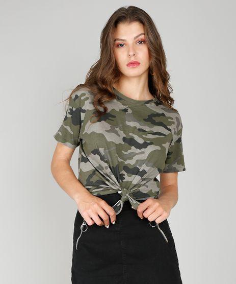 Blusa-Feminina-Estampada-Camuflada-Decote-Redondo-Manga-Curta-Verde-Militar-9554620-Verde_Militar_1