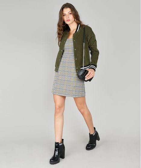 cliente primero elegante y elegante exuberante en diseño Jaqueta Feminina Bomber com Bolsos Verde Militar