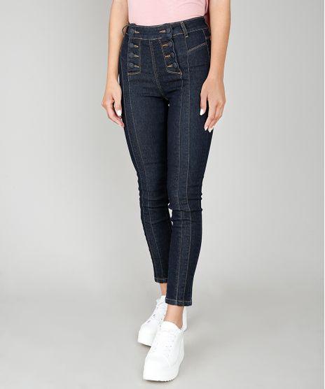 Calca-Jeans-Feminina-Skinny-Sawary-com-Recortes-e-Botoes-Azul-Escuro-9581059-Azul_Escuro_1