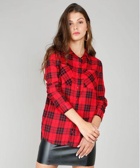 2e2fc4bfcb71 Camisa Feminina Longa Estampada Xadrez Manga Longa Vermelha - cea