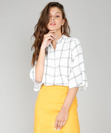 Camisa-Feminina-Cropped-Estampada-Quadriculada-Manga-3-4-Off-White-9567357-Off_White_1
