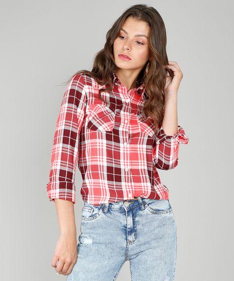 Camisa-Feminina-Estampada-Xadrez-com-Entremeio-Manga-Longa-Vermelha-9573171-Vermelho_1