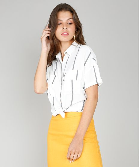 Camisa-Feminina-Listrada-com-Fios-Metalizados-Manga-Curta-Off-White-9567358-Off_White_1