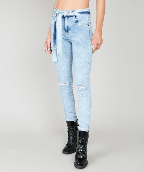 Calca-Jeans-Feminina-Skinny-Sawary-com-Rasgos-e-Faixa-de-Amarracao-Azul-Claro-9581057-Azul_Claro_1