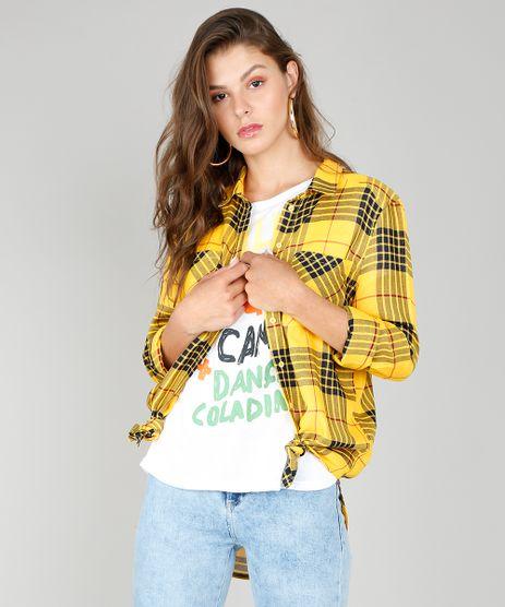 Camisa-Feminina-Longa-Estampada-Xadrez-Manga-Longa-Amarela-9440465-Amarelo_1