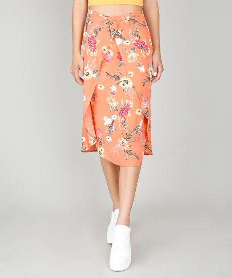 Saia-Feminina-Estampada-Floral-com-Sobreposicao-Coral-9564231-Coral_1