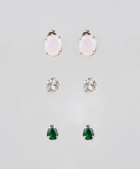 Kit-de-3-Brincos-Femininos-Folheados-com-Pedra-Zirconia-Dourado-9544825-Dourado_1