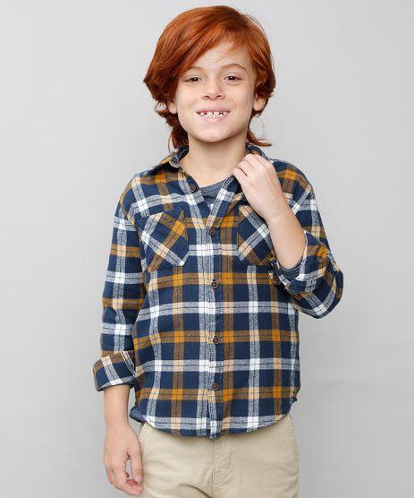 Camisa-Infantil-Estampada-Xadrez-Manga-Longa-Azul-Marinho-9382071-Azul_Marinho_1